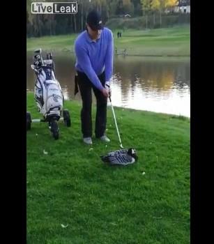 ゴルフクラブでガチョウの首をはねた男