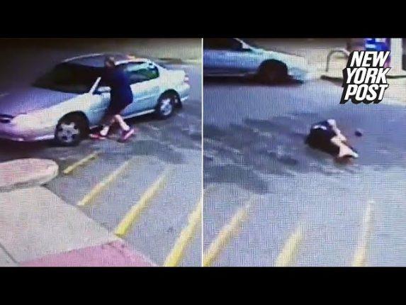 車泥棒に車で轢かれてしまう