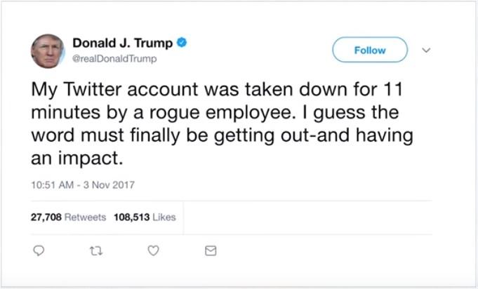 【出典:YouTube】Twitterアカウントがダウンしたことについてツイートするトランプ大統領