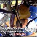【出典:YouTube】山道を運転中にフロントガラスを突き抜けて運転手の頭を直撃した落石