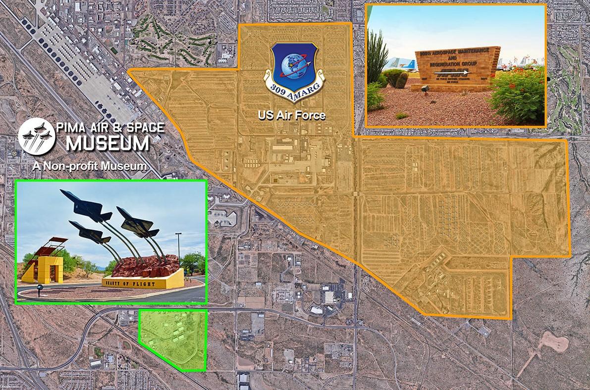 【出典:Pima Air & Space Museum】ピマ航空宇宙博物館が主催するバスツアーのツアーマップ