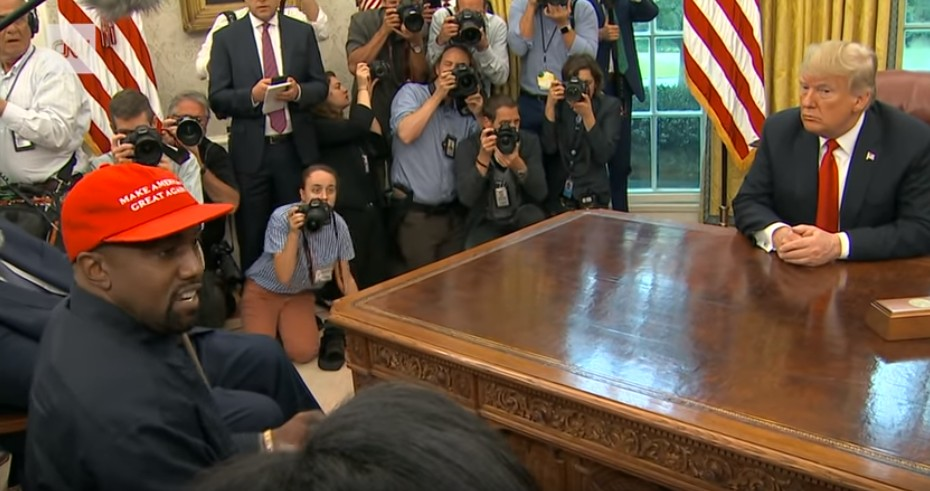 【出典:YouTube】トランプ大統領との会談に白熱するカニエ・ウェスト氏