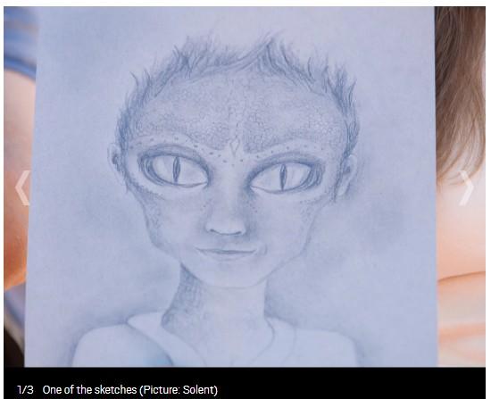 【出典:Metoro(IMAGE:Solent)】彼女達がスケッチしたヒューメイリアンの子供の似顔絵