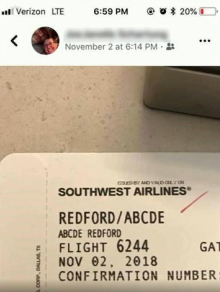 【出典:ABC7】Facebookに投稿されたアブシディちゃんの搭乗券