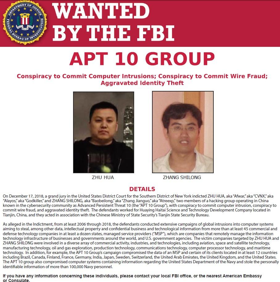 【出典:FBI】アメリカ司法省が起訴した中国人ハッカー