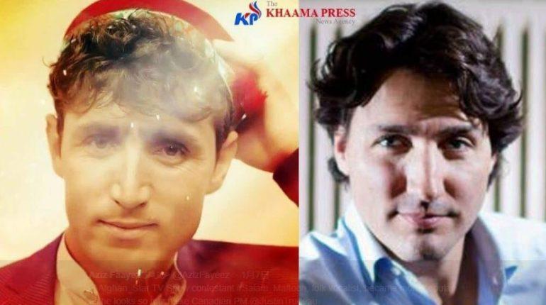 【出典:Aziz Faayez عزیزفایز /Twitter】左がソックリさんで右がトルドー首相